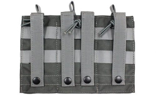 oper8 tactical triple bungee m4 magazine pouch - grey rear