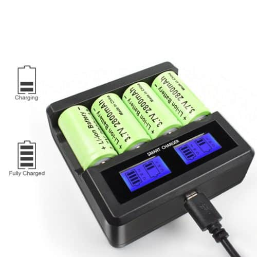 cr123a charger 4-way battery