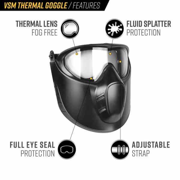 valken vsm thermal airsoft goggle mask detail