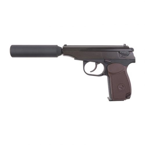 we airsoft makarov with barrel extension and brown grip