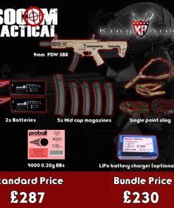 king arms 9mm sbr airsoft aeg bundle - starter airsoft bundle