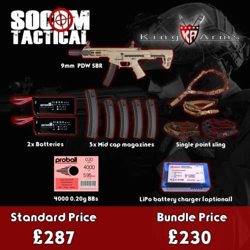 king arms 9mm sbr airsoft aeg bundle - starter airsoft bundle
