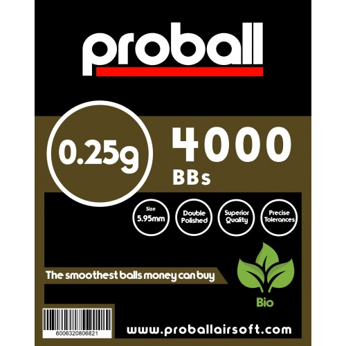 proball 0.25g biodegradable airsoft bbs 4000
