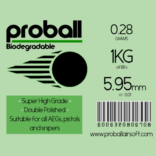 proball 0.28g biodegradable airsoft bbs