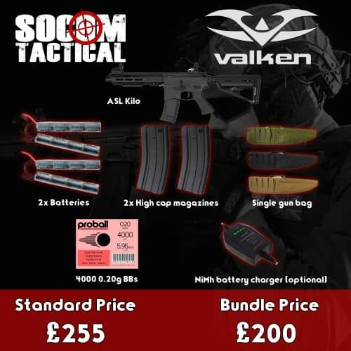 valken asl kilo airsoft aeg bundle - starter airsoft bundle