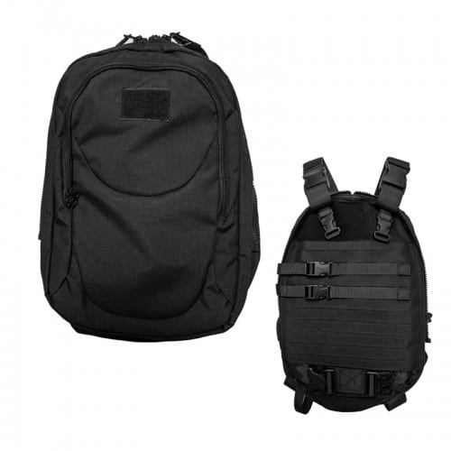 wbd dual-purpos tactical backpack and vest front both