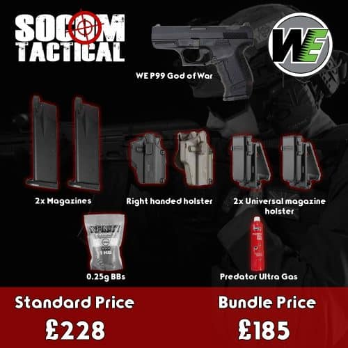 we p99 god of war airsoft gas pistol bundle