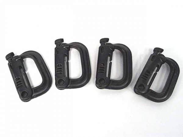 Grimloc D-Ring Locking Molle Carabiner 4pcs Pack Black