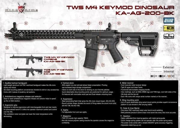 King Arms M4 TWS KeyMod CQB Elite - Grey