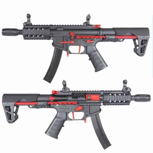 King Arms PDW 9mm SBR Shorty - Black & Red