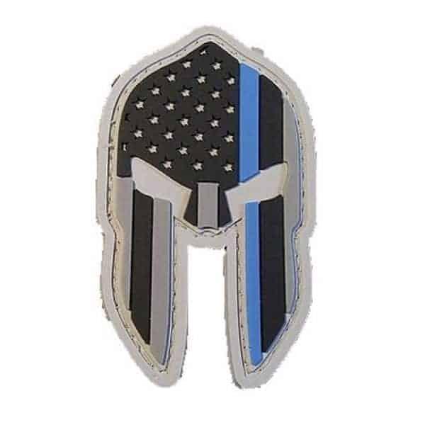 US Flag Spartan helmet thin blue line velcro patch