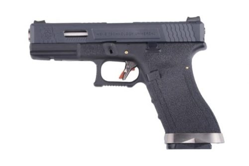 WE Custom G17 GBB pistol with silver barrel
