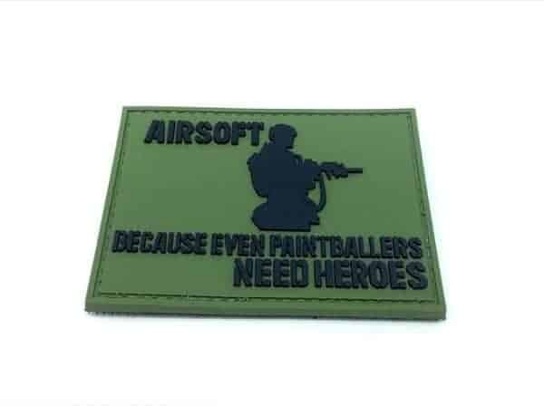 Airsoft: Because Even Paintballers Need Heroes patch (Green)