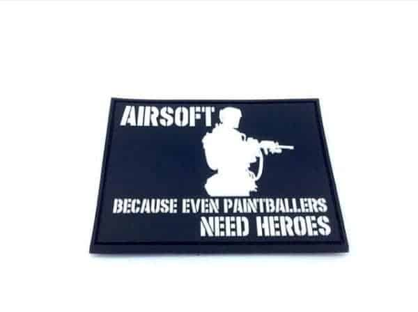 Airsoft: Because Even Paintballers Need Heroes patch (White)