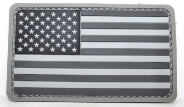USA rounded rubber flag patch (Black)