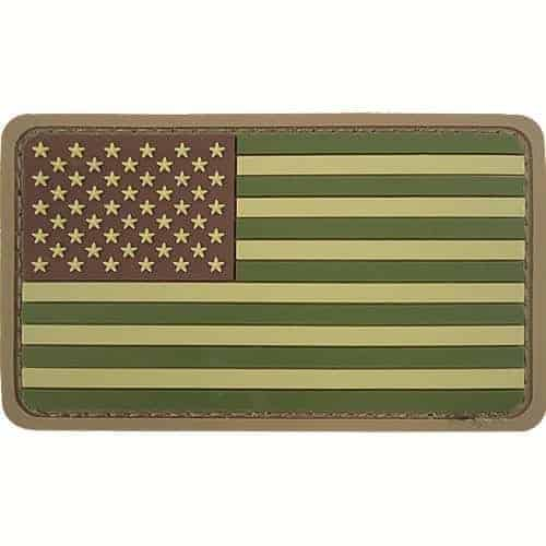 USA rounded rubber flag patch (Green)