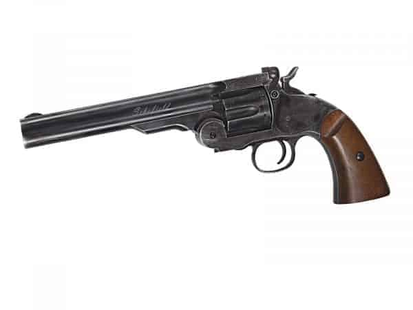 """ASG Schofield 6"""" CO2 Revolver - Ageing Black and Faux Wood Grips"""