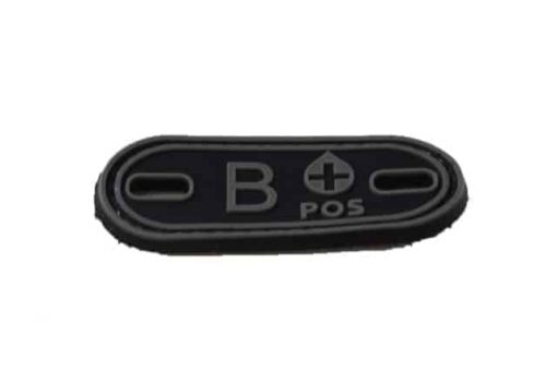 B Positive blood type patch (Black) (Fits boot lace)