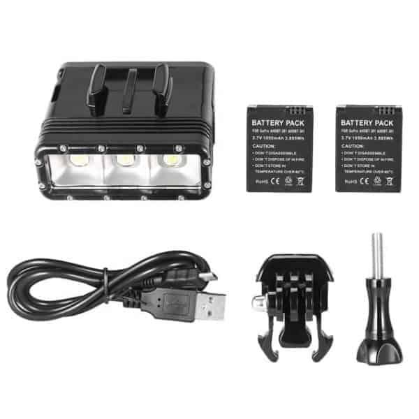 Waterproof Video Light lashlight with Base Mount & Screw & Dual