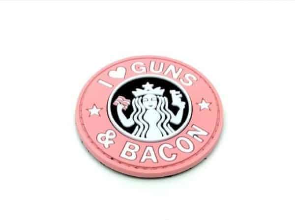 i love guns and bacon pinkmorale patch I <3 Guns & Bacon morale patch (Pink)