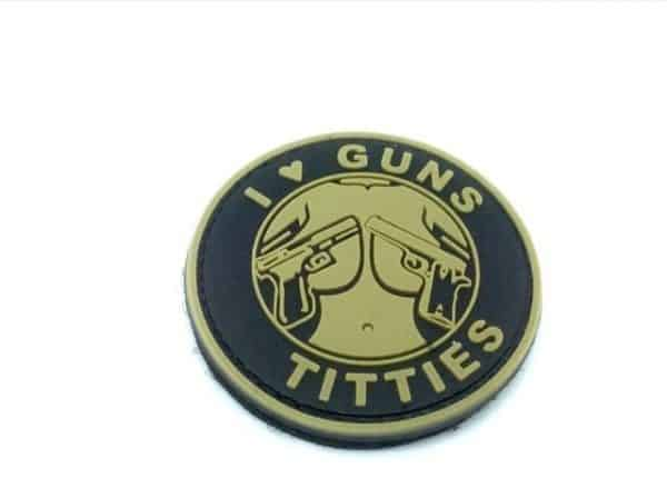 i love guns and titties morale patch black tan I <3 Guns & Titties morale patch (Black & Tan)