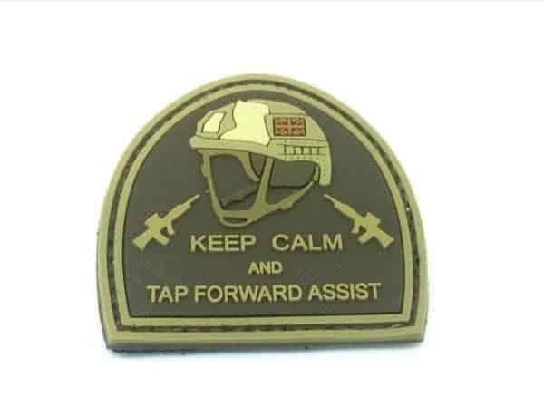 Keep calm and tap forward assist patch (Tan)