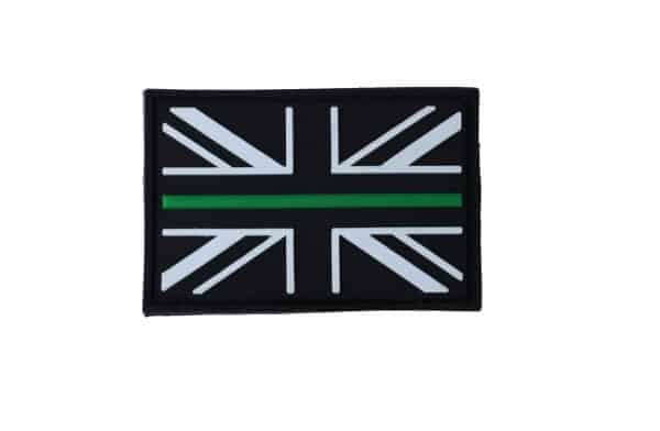 Union Flag Thin Green Line Velcro Patch (Black & White)