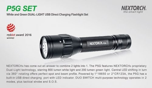 Nextorch P5G SET USB charging / Pressure switch