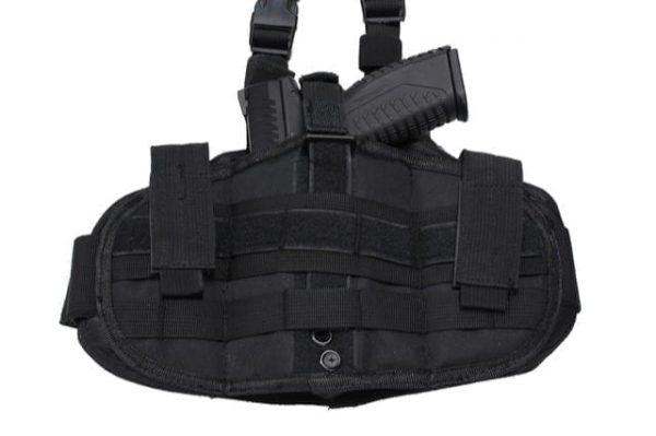 WBD Ambidextrous dropleg fabric holster w/ molle platform (Black