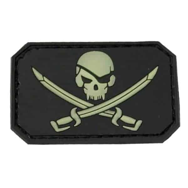 Pirate skull and cross sword glow in the dark patch