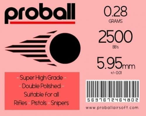 Proball 0.28g Airsoft 6mm BBs (2500)
