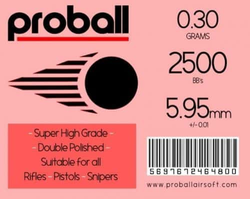 Proball 0.30g Airsoft 6mm BBs (2500)
