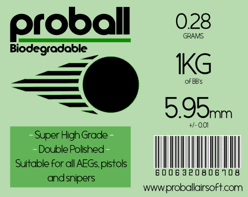 Proball 0.28g Biodegradable Airsoft 6mm BBs (3500)