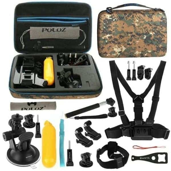 PULUZ 20 in 1 Accessories Combo Kit with Camouflage Case for Go