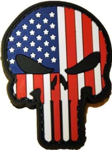 Punisher skull US flag cut out patch