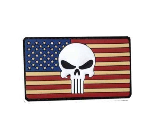 Punisher skull US flag morale patch