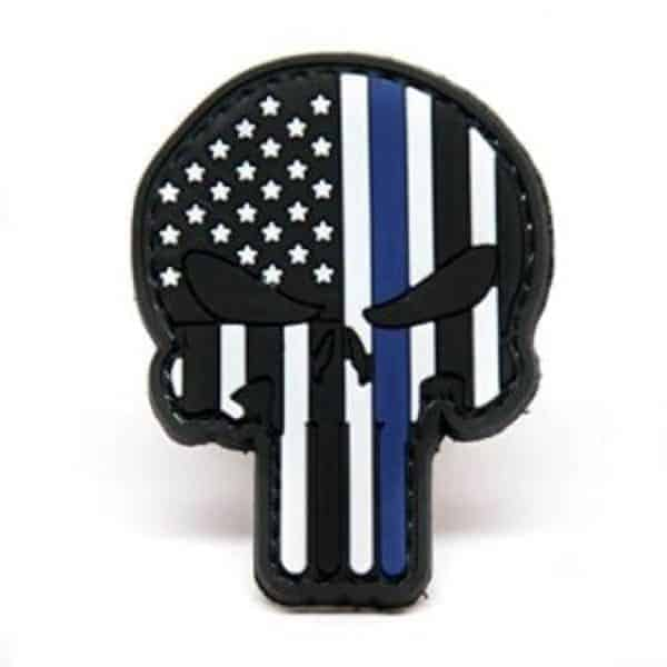 punisher thin blue line us cutout patch Punisher Cutout US flag skull patch - Thin blue line