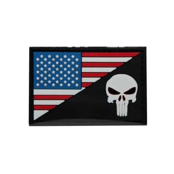 US flag/Punisher skull flag dual flag patch