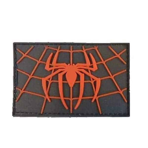 Spiderman black and red spider web patch