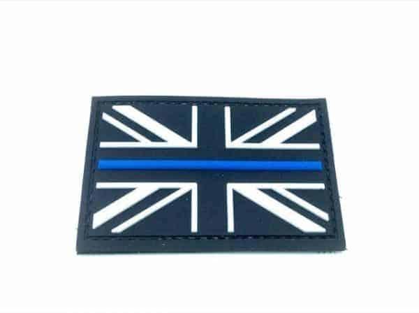 Union Flag Thin Blue Line Velcro Patch (Black & White)