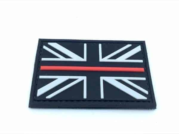 Union Flag Thin Red Line Velcro Patch (Black & White)