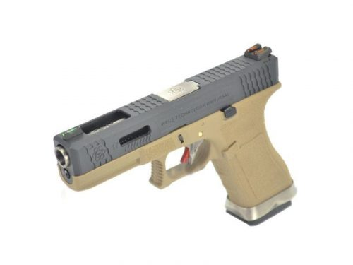 WE Custom G17 GBB pistol with silver barrel (Tan)