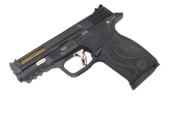 WE Custom M&P 9 stealth slide and gold barrel gas pistol