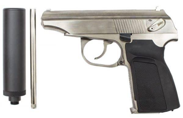 WE Makarov w/ silencer & extended barrel (Silver)
