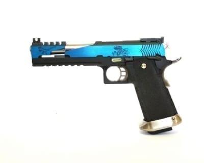 "WE Hi-capa 6"" T-Rex Custom with Titanium barrel - Blue"