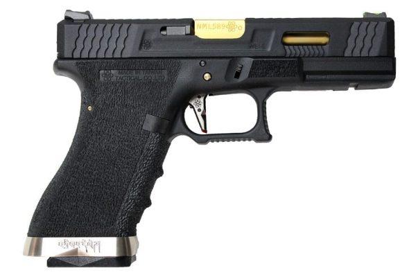 WE G17 GBB pistol w/ gold barrel